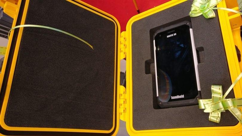 Handheld Nautiz x9 rugged computer in suitcase