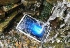Rugged tablet in waterfall