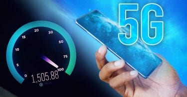 5G infographic with mobile device