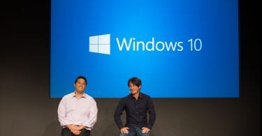 people on stage for windows 10 presentation