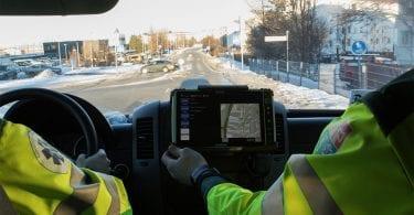handheld algiz 10x vehicle docked in Icelandic ambulance